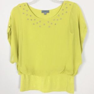 Joseph A Dolman Short Sleeve in Green Blouse S